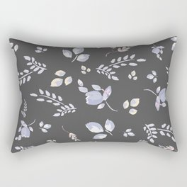 Spring watercolor leaves & tulips on dark grey background Rectangular Pillow