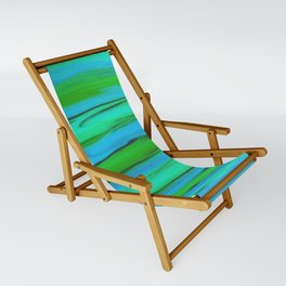 Apple Green, Seafoam, and Azure Blue Stripes Abstract Sling Chair