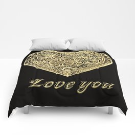 golden heart I love you Comforters