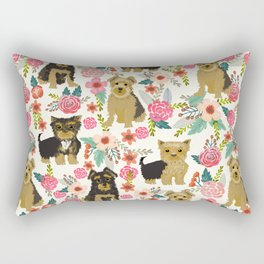 Yorkshire Terrier cute florals must have gifts for dog lover yorkie owners delight secret gifts art Rectangular Pillow