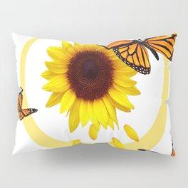 ORANGE MONARCH BUTTERFLIES & SUNFLOWER  PATTERN Pillow Sham