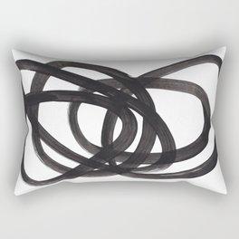 Black And White Minimalist Mid Century Abstract Ink Art Circle Swirls Black Circles Minimal Rectangular Pillow