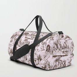 Alice in Wonderland   Toile de Jouy Pattern   Brown   Pink   Vintage Pattern   Victorian Gothic   Duffle Bag