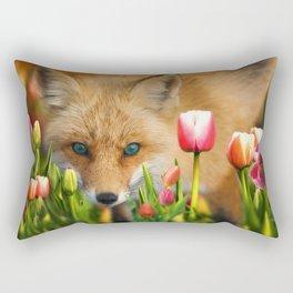 fox in tulips Rectangular Pillow