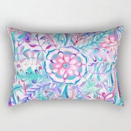 Boho Flower Burst in Pink and Teal Rectangular Pillow