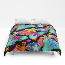 Colorful Retro Flowers Fractalius Pattern Comforters