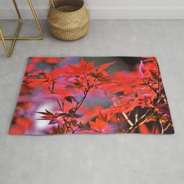Red Japanese Maple Leaves Rug