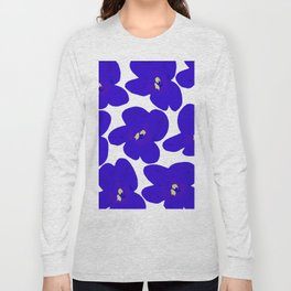Blue Retro Flowers #decor #society6 #buyart Long Sleeve T-shirt