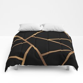 Black and Gold Fragments - Geometric Design Comforters