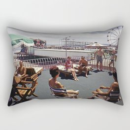 Kings Inn Hotel Sundeck on the Wildwood Boardwalk and Amusement Pier. 1960's retro photograph. Rectangular Pillow