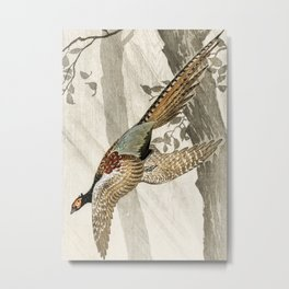 Pheasant flying down from the tree - Vintage Japanese woodblock print art Metal Print