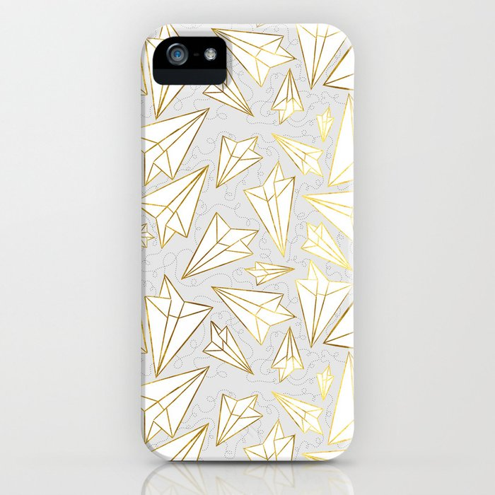 Paper Airplanes Faux Gold on Grey iPhone Case