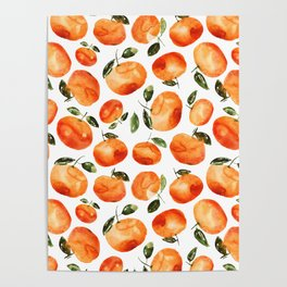 Watercolor tangerines Poster