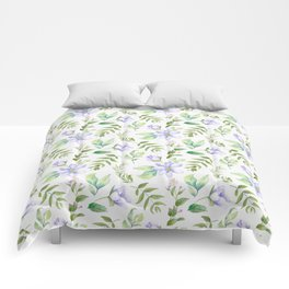 Watercolor lavender lilac green hand painted floral Comforters