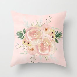 Wild Roses on Seashell Pink Watercolor Throw Pillow