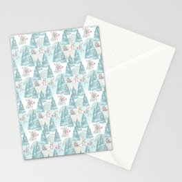 Bear & Mouse - Cute 4 Kids - Little Mice in Christmas Winter Wonder Land Stationery Cards