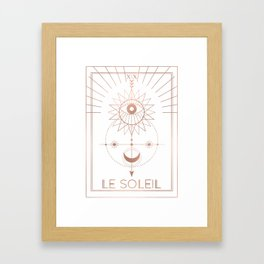Le Soleil or The Sun Tarot White Edition Framed Art Print