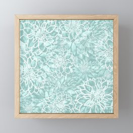 Teal and White Floral Garden Pattern Framed Mini Art Print