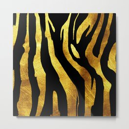Gold and Black Striped Animal Print Metal Print