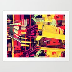 Industrial Abstract Red Art Print