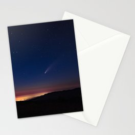 Neowise Comet over Kneeland at sunset Stationery Cards