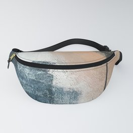 Honey 1: a pretty, minimal abstract in midnight blue, rose gold, and white Fanny Pack