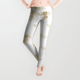 Chic Gold and White Bee Patten Leggings