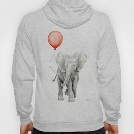 Baby Elephant Watercolor Red Balloon Nursery Decor Hoody