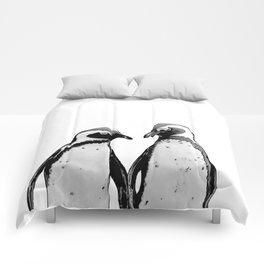 two baby penguin friends Comforters