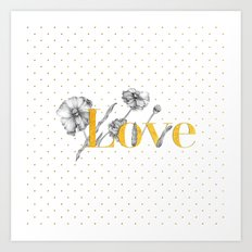 Love - Gold flowers and polkadots on white Art Print