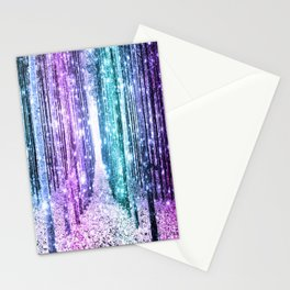 Magical Forest Lavender Aqua Teal Ombre Stationery Cards