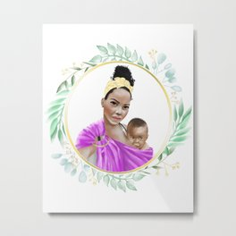 Mother of Color breastfeeding her son in a ring sling baby carrier // watercolor framed botanicals Metal Print