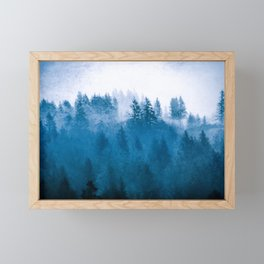 Blue Winter Day Foggy Trees Framed Mini Art Print