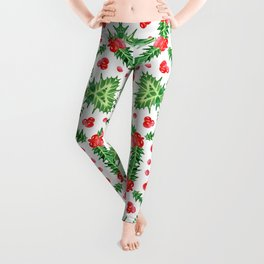 Holly Jolly Christmas Wreath Mandala (Small Pattern) Leggings