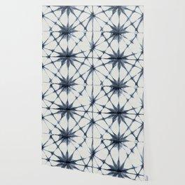 Shibori Starburst Indigo Blue on Lunar Gray Wallpaper