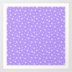Hearts Pattern #4 - Purple Art Print