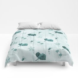 Turquoise flower pattern Comforters