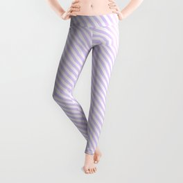 Small Pale Lilac and White Candy Cane Stripes Leggings