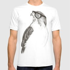 Hawk with Poor Eyesight White MEDIUM Mens Fitted Tee