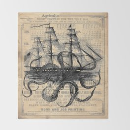 Octopus Kraken attacking Ship Antique Almanac Paper Throw Blanket