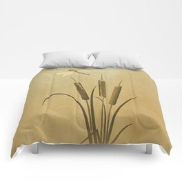 Cattails And Dragonfly Comforters