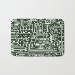 Circuit Board // Green & White Bath Mat