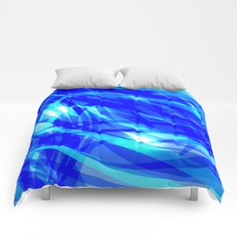Vector glowing water background made of blue sea lines. Comforters