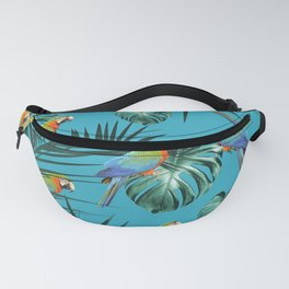 Parrots in the Tropical Jungle #2 #tropical #decor #art #society6 Fanny Pack