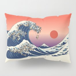 The Great Wave of Pug Pillow Sham