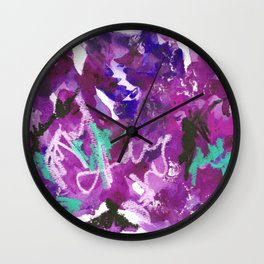 Purple Abstract Mixed-Media: Royal Wall Clock