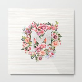 Initial Letter M Watercolor Flower Metal Print
