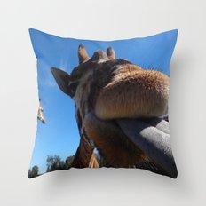 Giraffe lick Throw Pillow