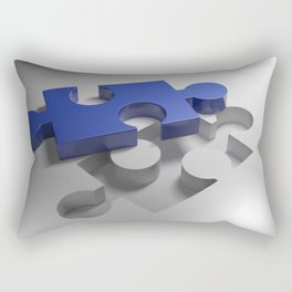 Blue puzzle near its hole Rectangular Pillow