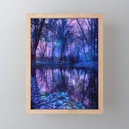 Enchanted Forest Lake Purple Blue Framed Mini Art Print
